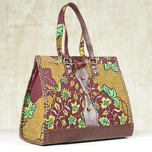 Leather and Cotton Leaf Print Handbag Handmade in Ghana, 'Amorkor'