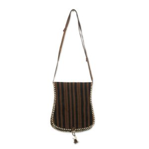 Brown and Black Stripe Cotton Shoulder Bag with Leather, 'Bawku Mystique'