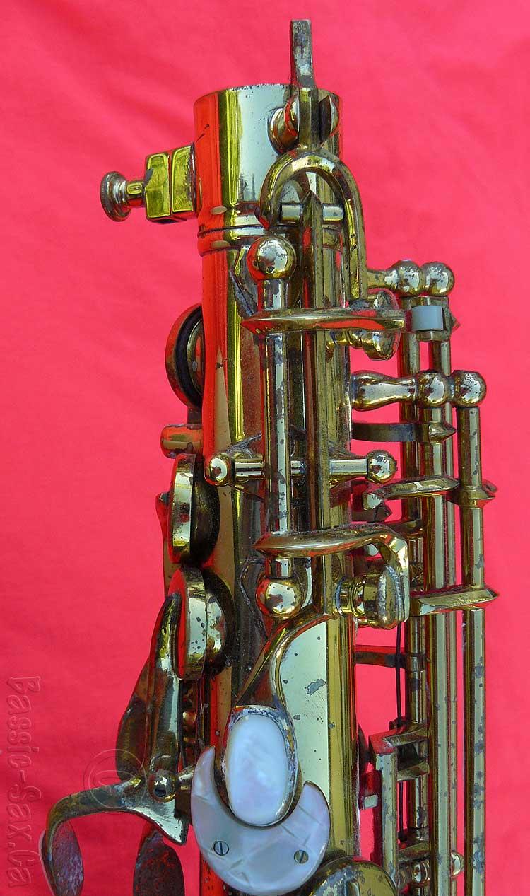 saxophone octave mechanism, Hammerschmidt Klingsor, alto sax, German sax, Hüttl, stencil sax