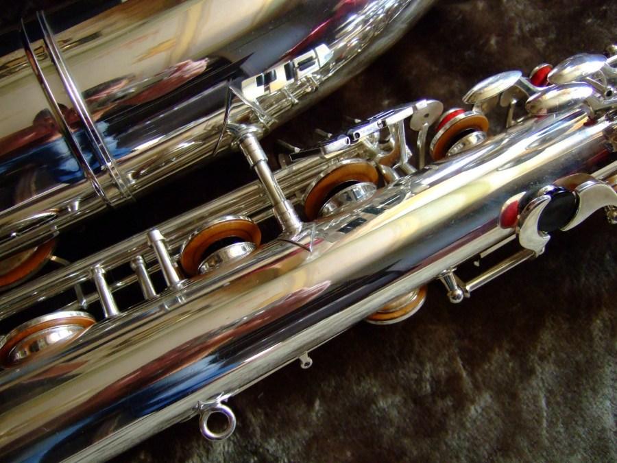 baritone saxophone, low A bari, Weltklang bartione saxophones, silver plated, vintage, East German