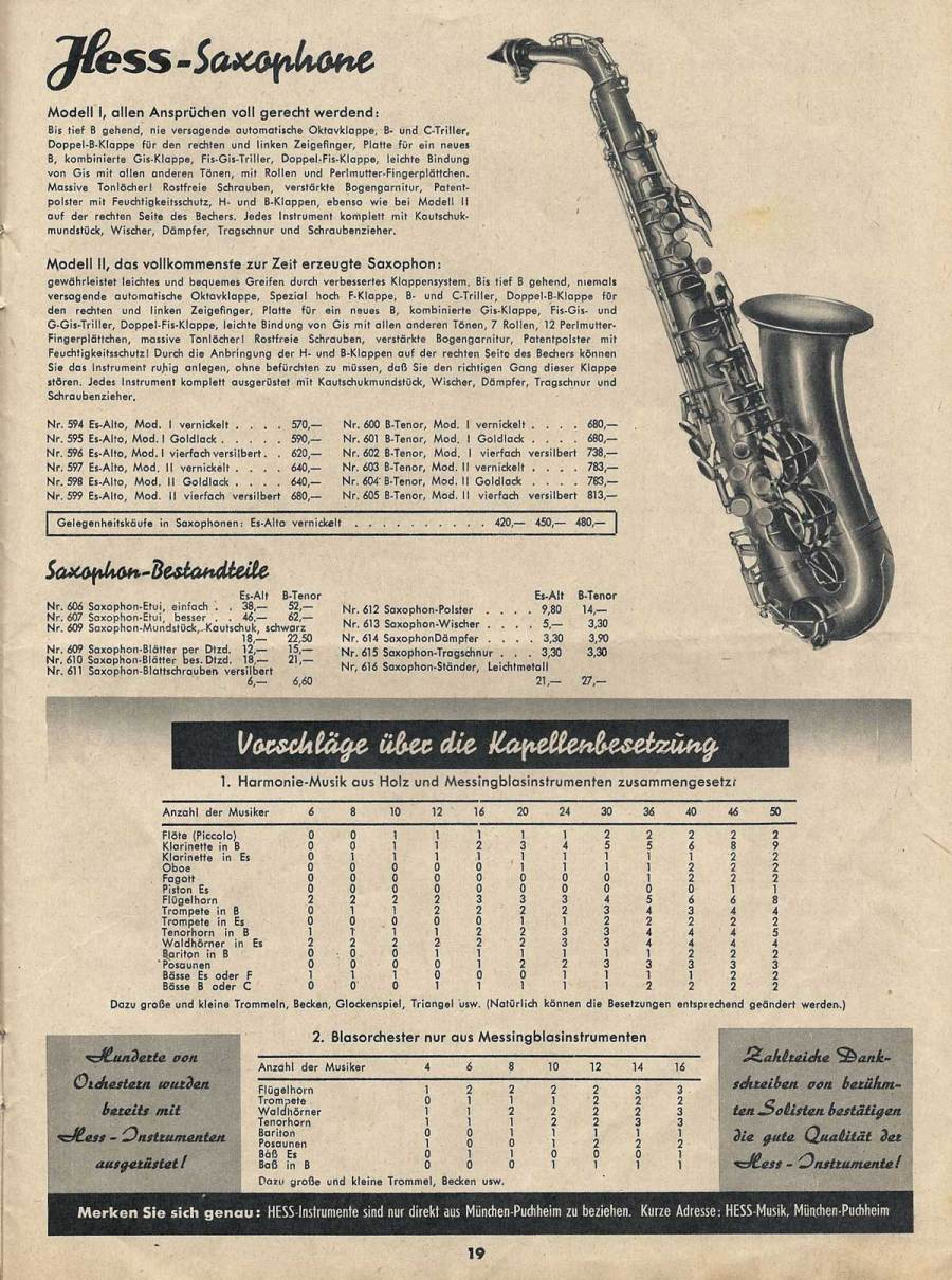 vintage musical instrument catalogue, Ernst Hess, Hess saxophones, 1950, West German saxophone,
