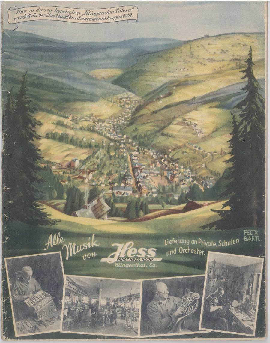 vintage catalogue, Klingenthal-era Hess saxophones, Ernst Hess, 1940 musical instrument catalogue, Graslitz