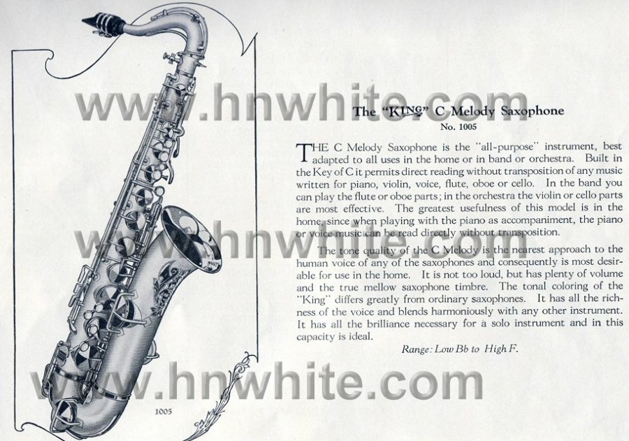 H.N. White vintage catalogue page, C melody saxophone, 1924