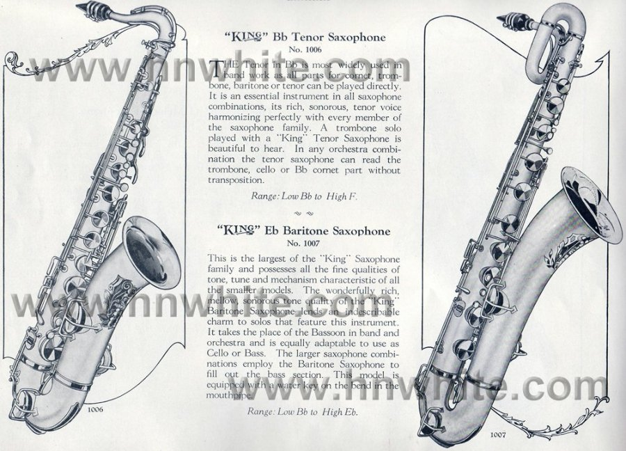H.N. White vintage catalogue page, King tenor saxophone, King baritone saxophone, 1924