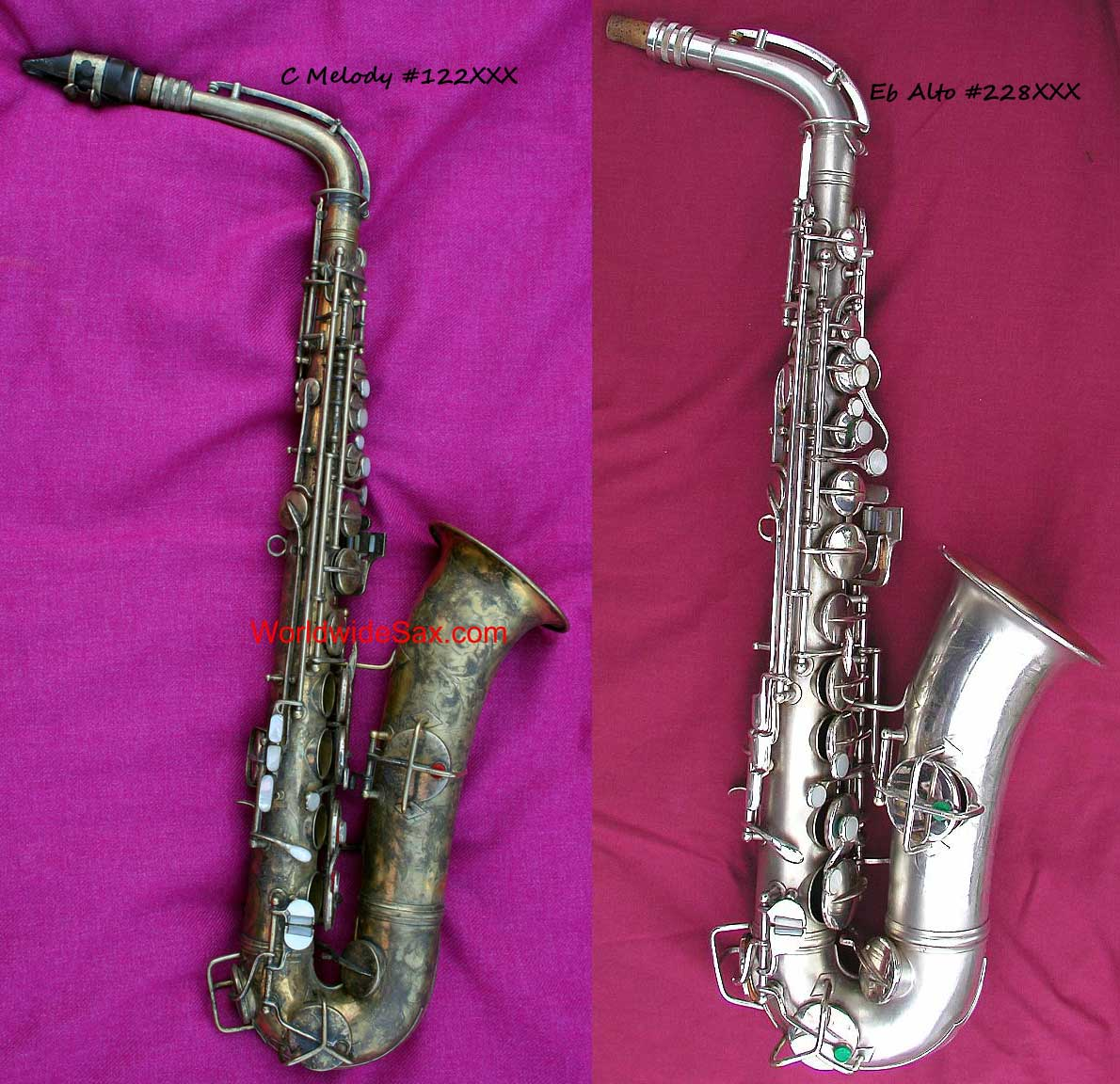 How can you tell a C melody from a Bb tenor sax, Conn straight-neck C melody sax, Conn alto sax, New Wonder Series