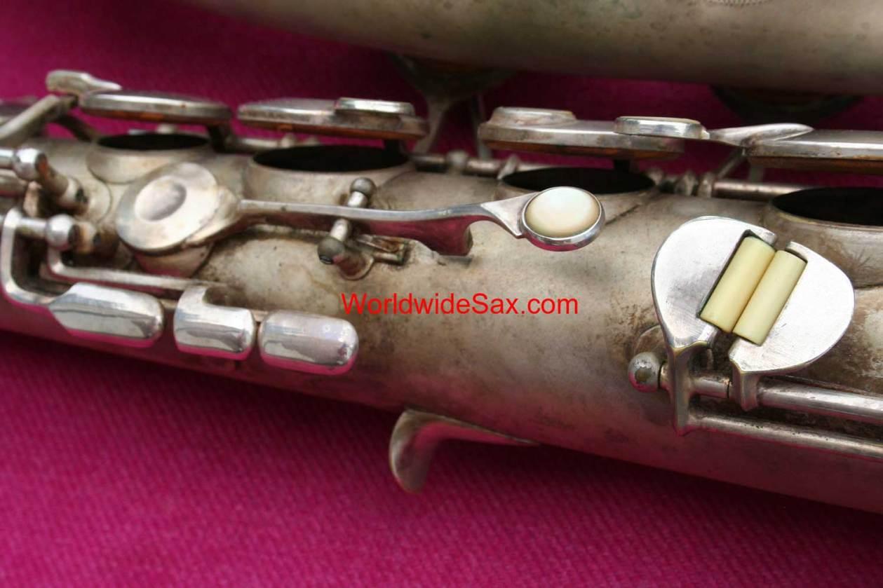vintage sax, vintage saxophone, saxophone keys, Olds Super tenor sax, ivory key rollers