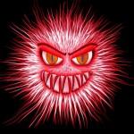 virus, cartoon virus, red fuzzy virus with face, flu season