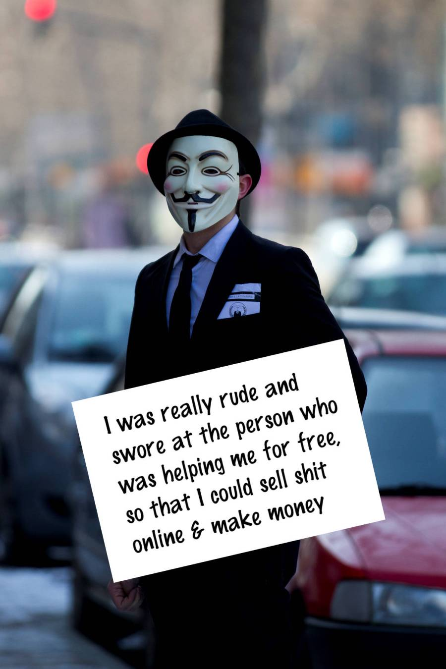 anonymous, Guy Fawkes mask, shaming sign, rude people shaming