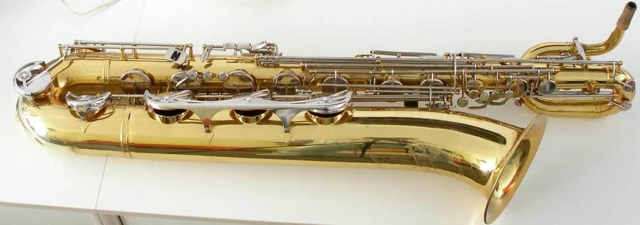 B&S blue label, baritone saxophone, low A bari, vintage East German saxophone, DDR