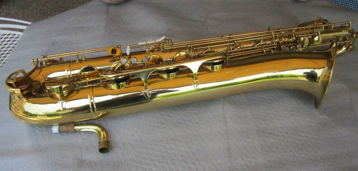 B&S blue label, baritone saxophone, low A bari, vintage East German saxophone, DDR