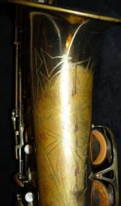 La Monte tenor, saxophone bell, gold, black background