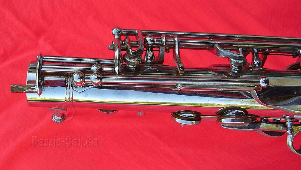 saxophone, octave key mechanism, Hammerschmidt, German, vintage, nickel plated, red background