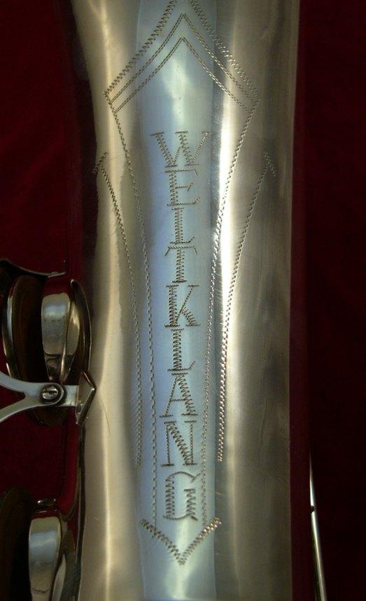 Weltklang, tenor saxophone bell, bell engraving, vintage, East German sax, DDR, silver plated