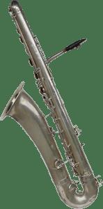 bass saxophone, Buescher, vintage, silver plated