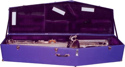 custom bass sax case, purple vinyl covering, black velvet interior, Buescher bass straped inside