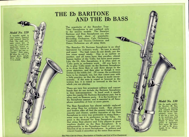 Buescher, old catalogue page, bass & baritone page, Bb bass, Eb baritone saxopones, True Tone model