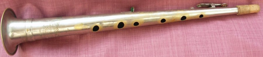 clar-o-sax, conn, vintage, open tone holes, metal woodwind instrument