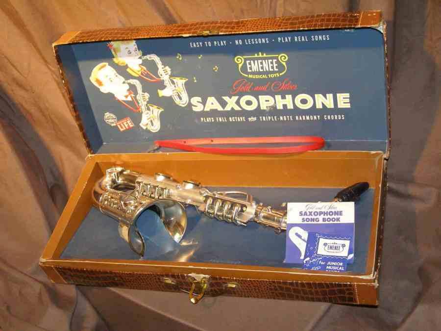 Emenee toy sax, vintage toy sax, plastic saxophone toy, sax case-style original box
