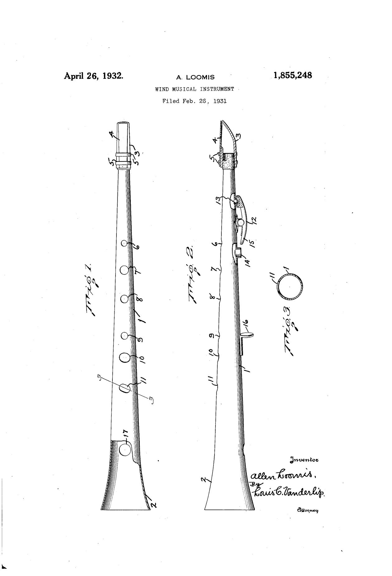 Clar-O-Sax patent drawing, A. Loomis, April 26, 1932, 1,855,248