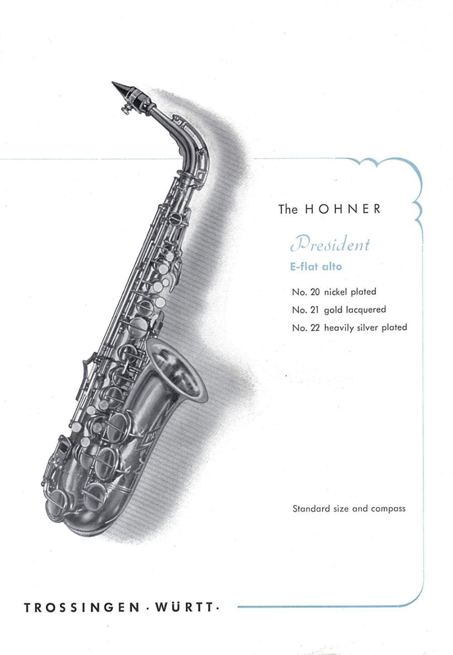 vintage Hohner saxophone brochure, Hohner brochure, Hohner President