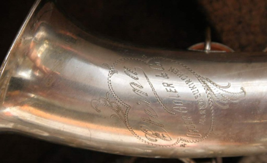 Oscar Adler alto saxophone, Eterna model bell engraving