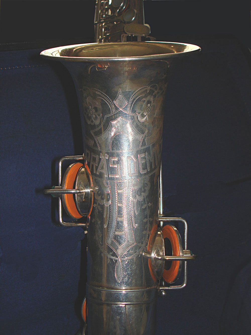 Max Keilwerth, President, alto, saxophone, German, vintage, silver, blue