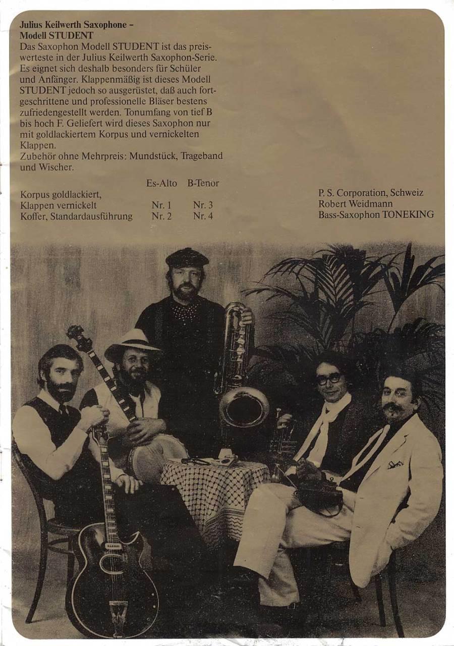 Julius Keilwerth, saxophones, German, vintage, brochure, 1979, page 4, musicians, black, gold
