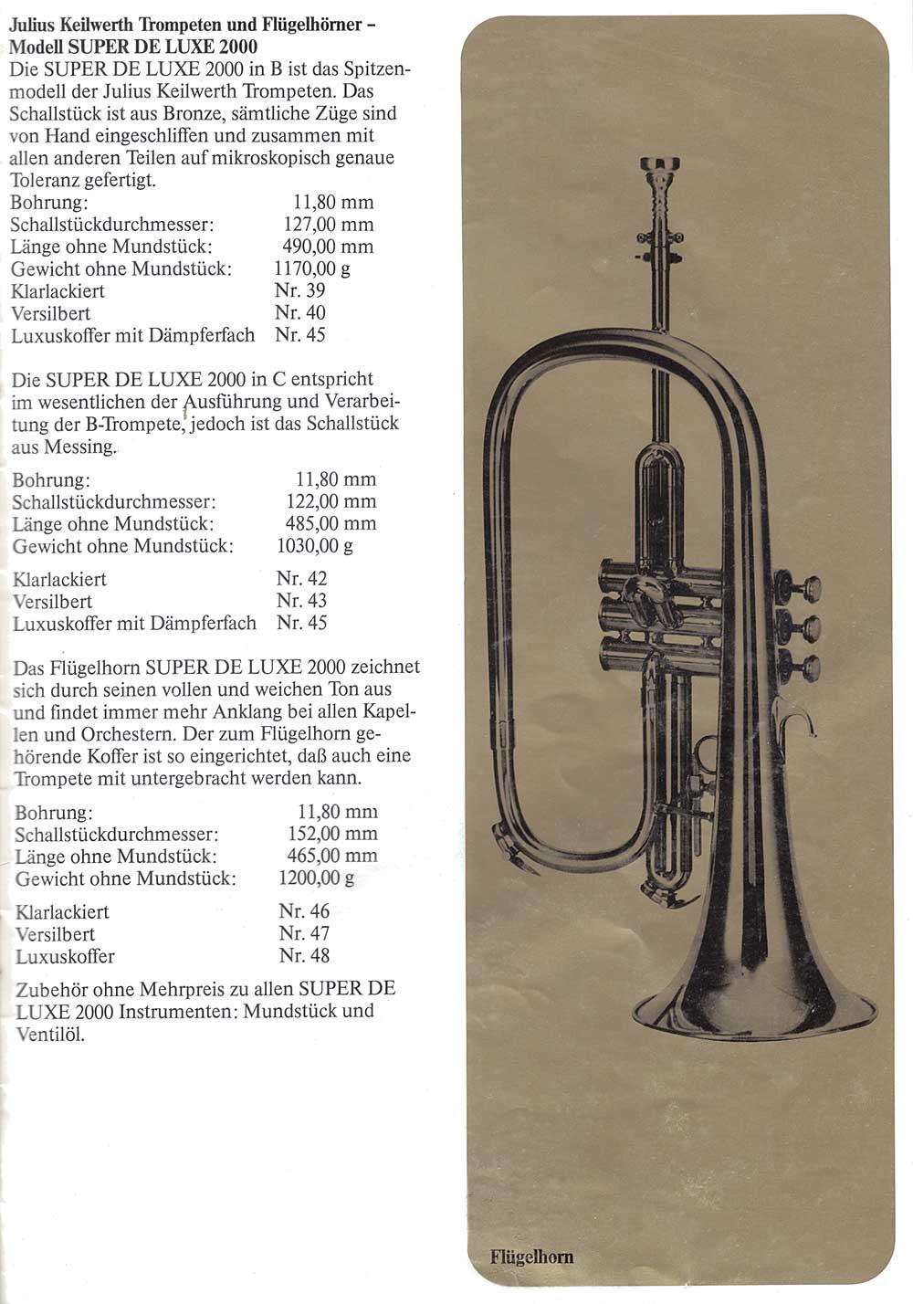 Julius Keilwerth, vintage catalogue, flugelhorn, 1979, page 14, black, gold