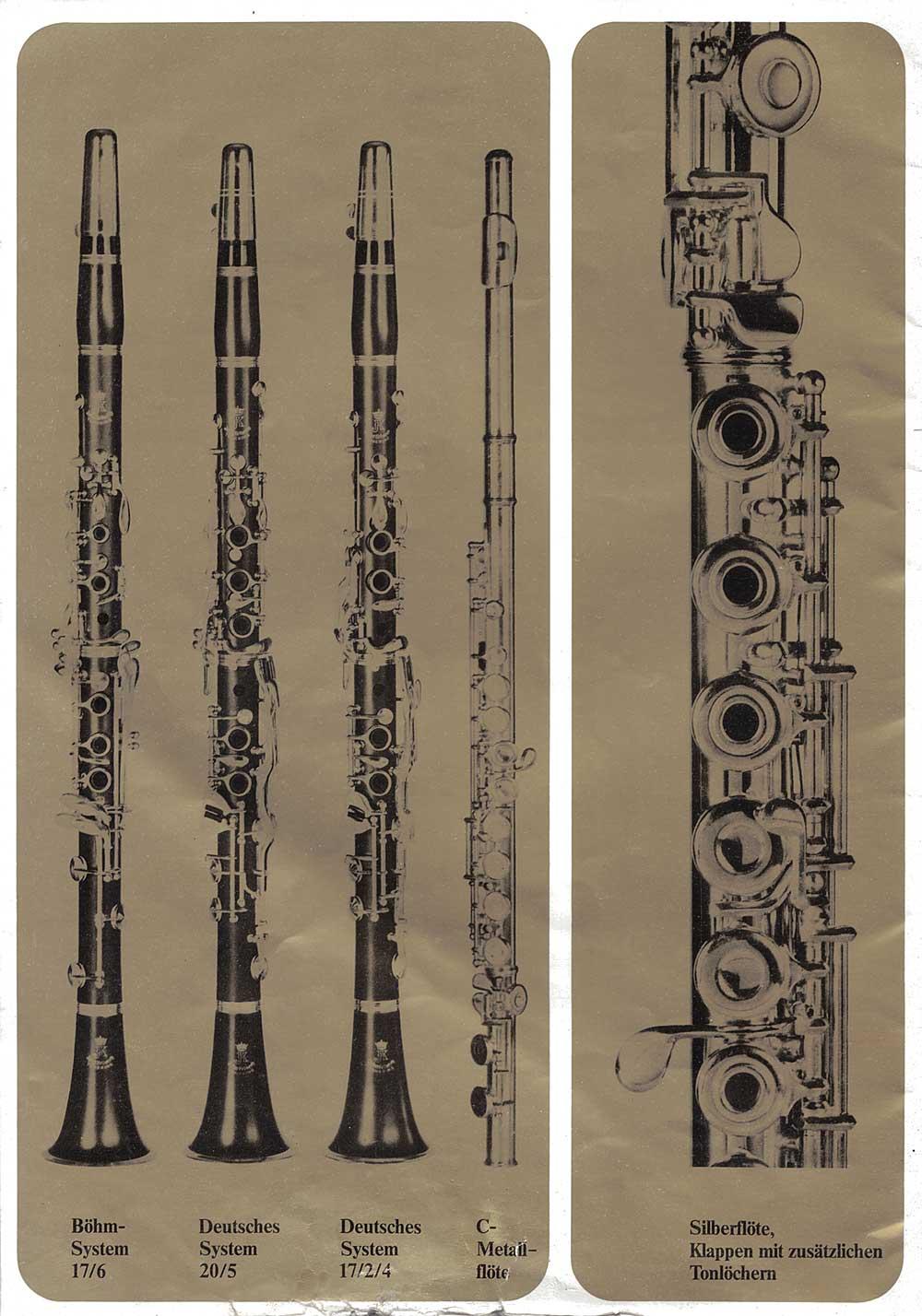 Julius Keilwerth, vintage catalogue, 1979, page 21, black, gold, clarinets, flutes