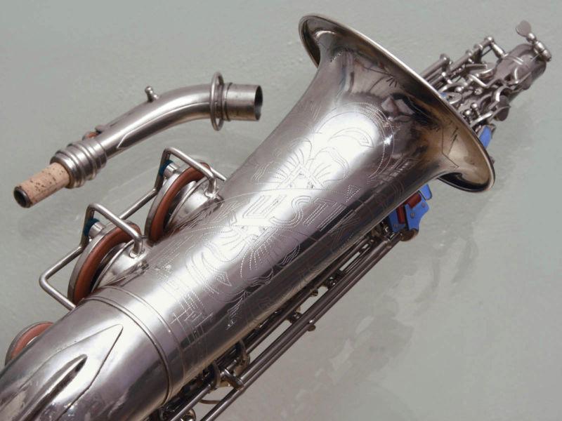 alto saxophone, Akustik, East German saxophone, vintage, silver plated, sax neck