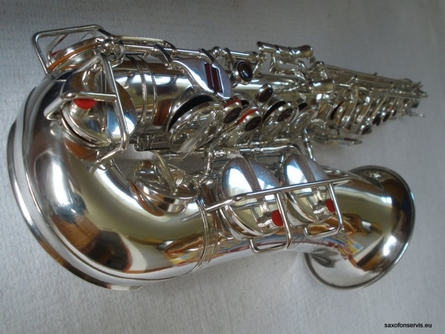 Weltklang, alto saxophone, silver plated, coloured glass key touches, vintage, East German saxophone