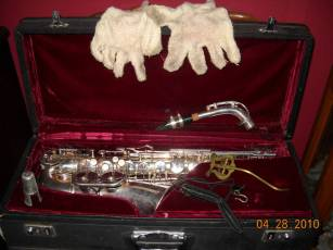 alto saxophone, sax case, white gloves, lyre, neck strap,