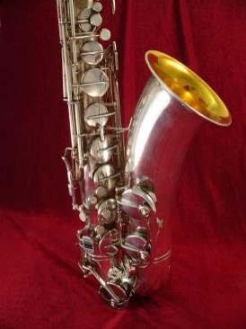 tenor saxophone, silver plated, gold wash bell, vintage, German, Weltklang