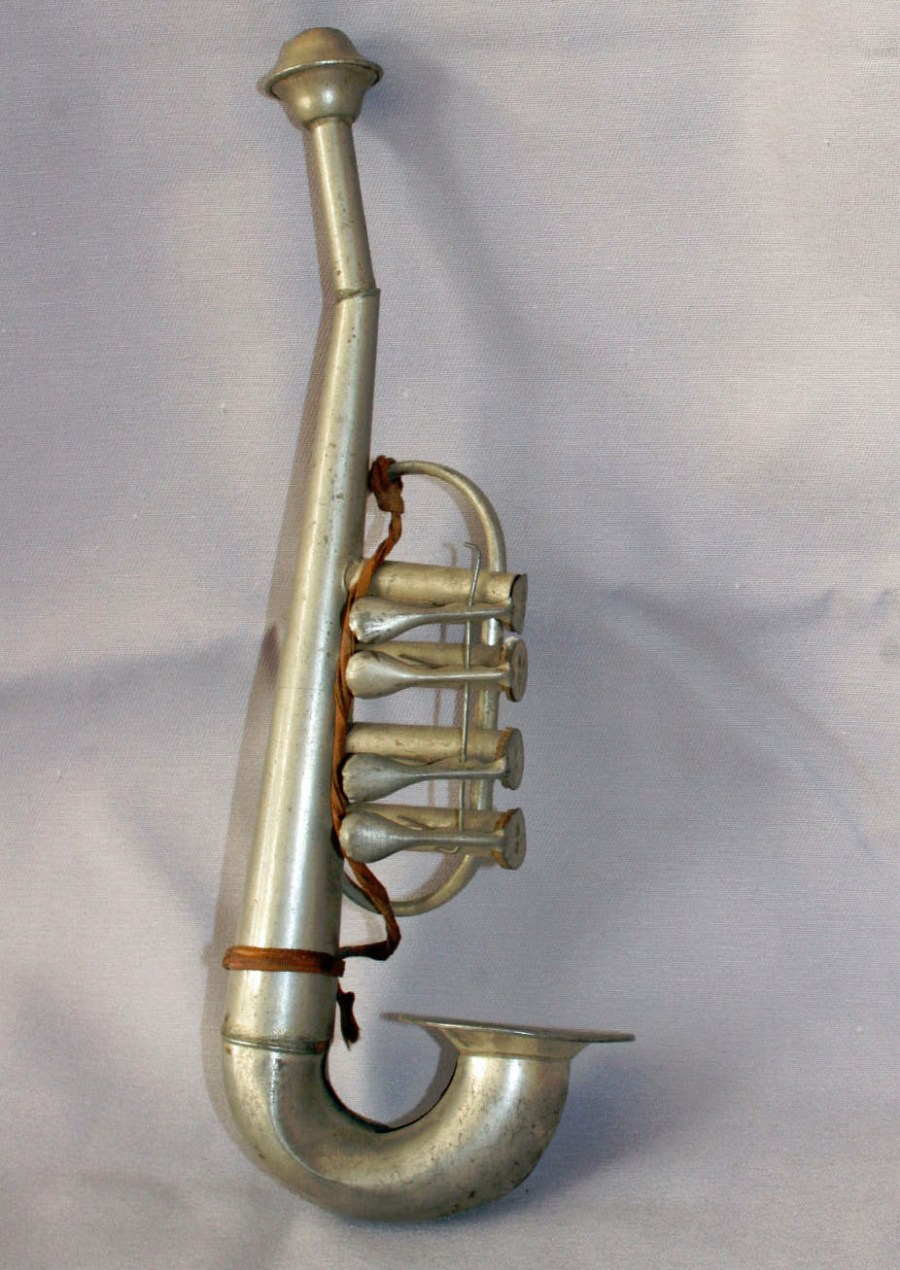 French Horn Inspired Toy Sax, toy sax, vintage toy, tin toy