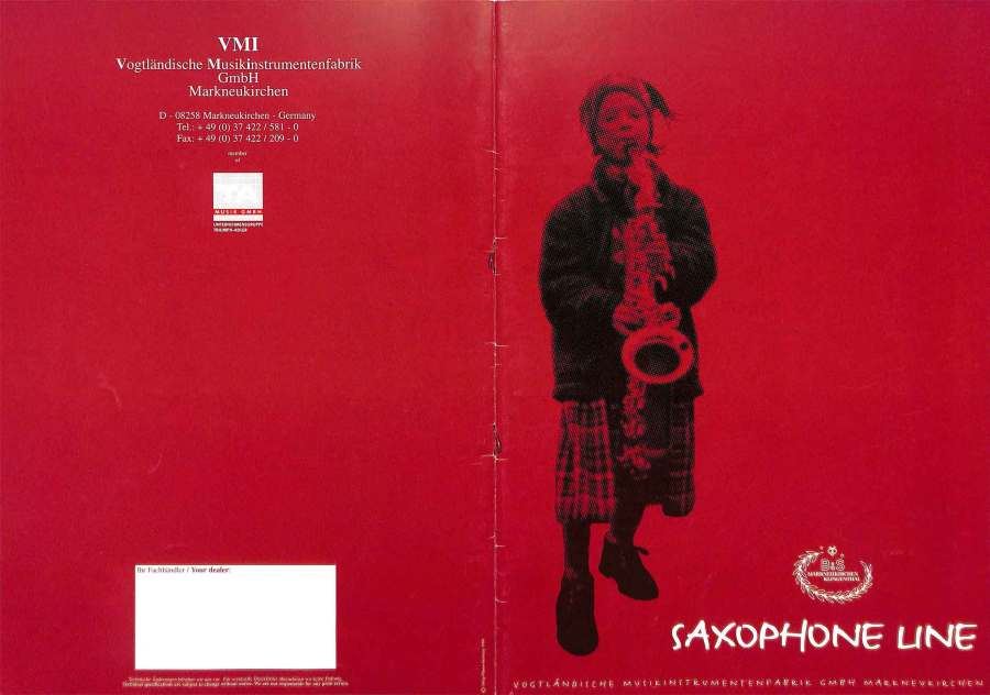 B&S saxophones, VMI, color brochure, girl playing saxophone, German saxophones,