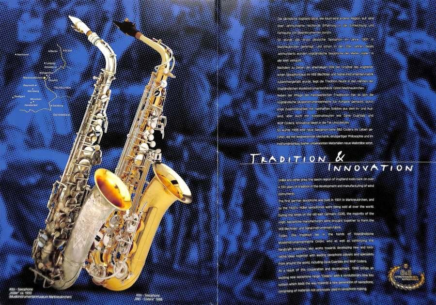 B&S saxophones, VMI, color brochure, Codera alto sax, F.X. Hüller alto sax, German saxophones,