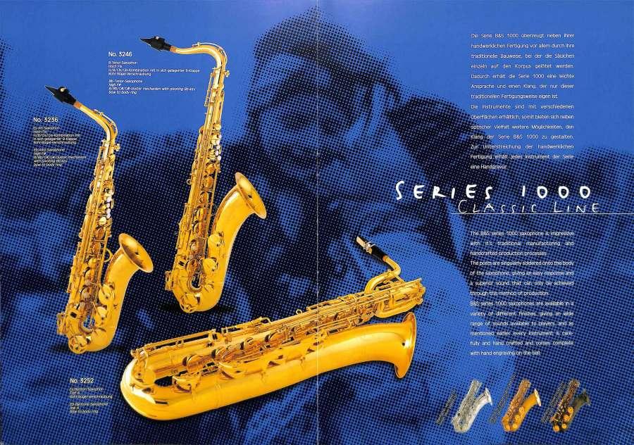 B&S saxophones, VMI, color brochure, Series 1000 saxophones, alto sax, tenor sax, soprano sax, German saxophones,