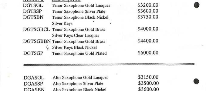 1994 Brochure: Saxophone Price List