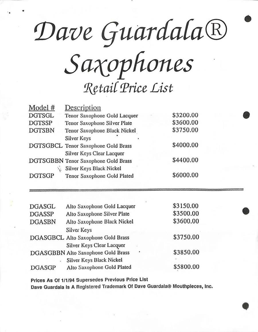 Dave Guardala, price list, alto saxophones, tenor saxophones, brochure,