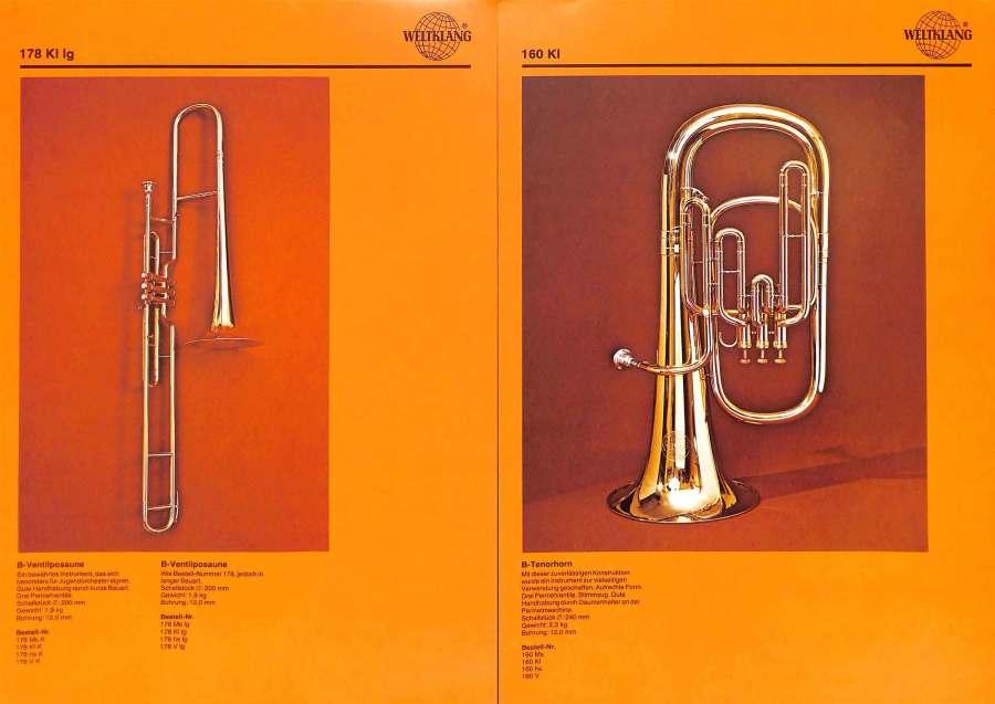 Weltklang, Bb valve trombone, Bb tenor horn, vintage colour print literature, VEB Blechblas- und Signal-Instrumenten-Fabrik (B&S), GDR, DDR, German musical instruments