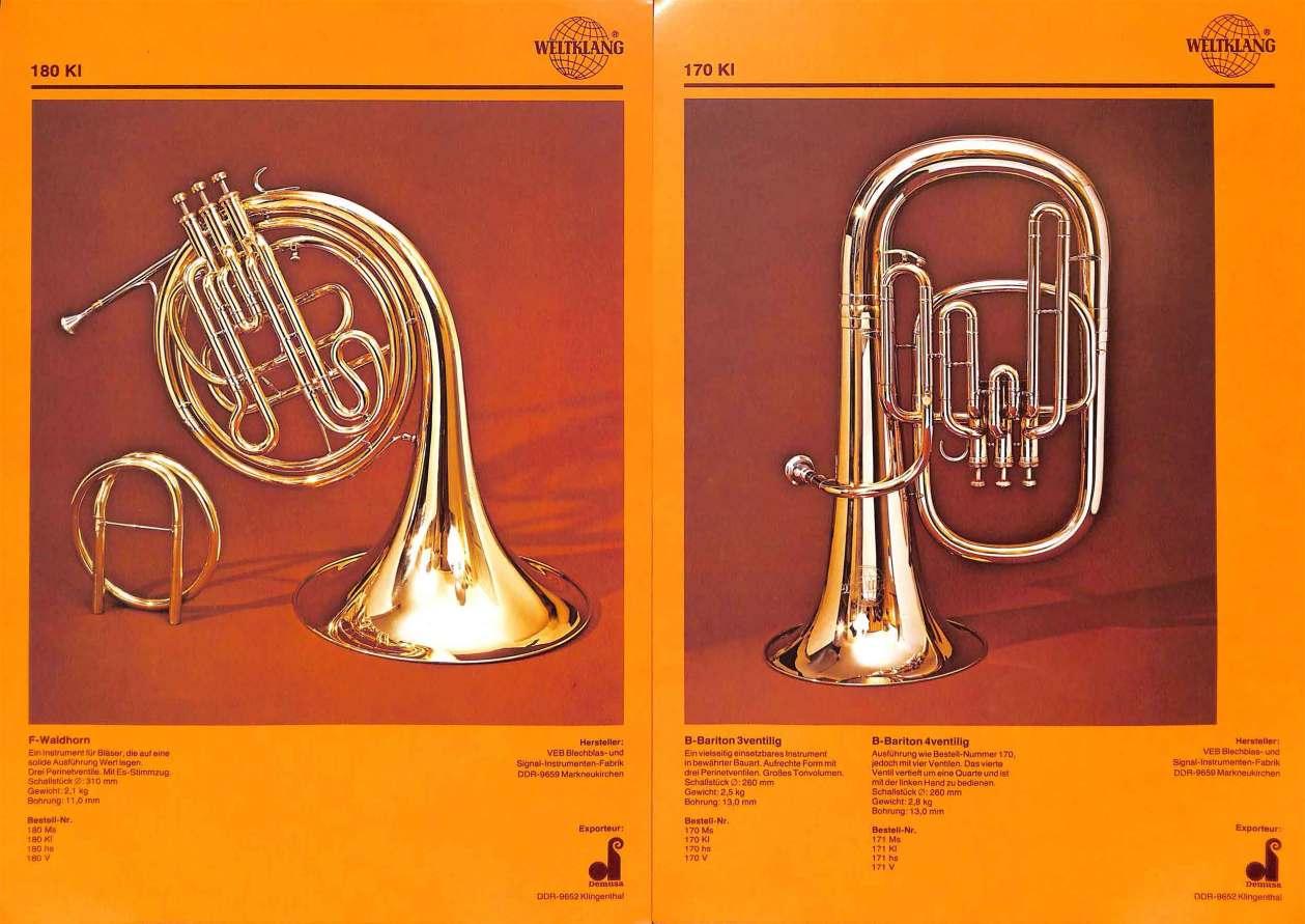 Weltklang, Eb/F French horn with piston valves, Bb baritone horn, vintage colour print literature, VEB Blechblas- und Signal-Instrumenten-Fabrik (B&S), GDR, DDR, German musical instruments