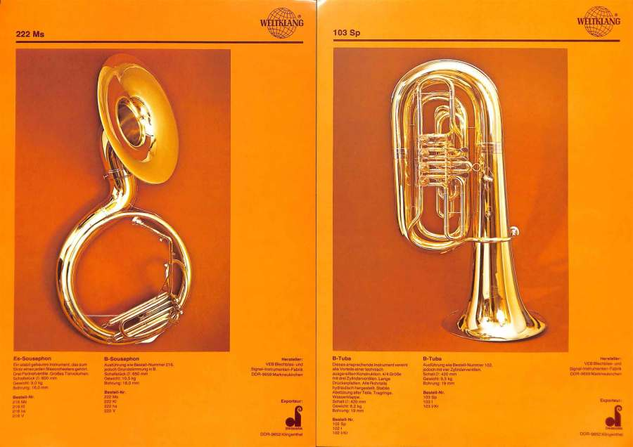 Weltklang, Bb sousaphone, Bb tuba with rotary valves, vintage colour print literature, VEB Blechblas- und Signal-Instrumenten-Fabrik (B&S), GDR, DDR, German musical instruments