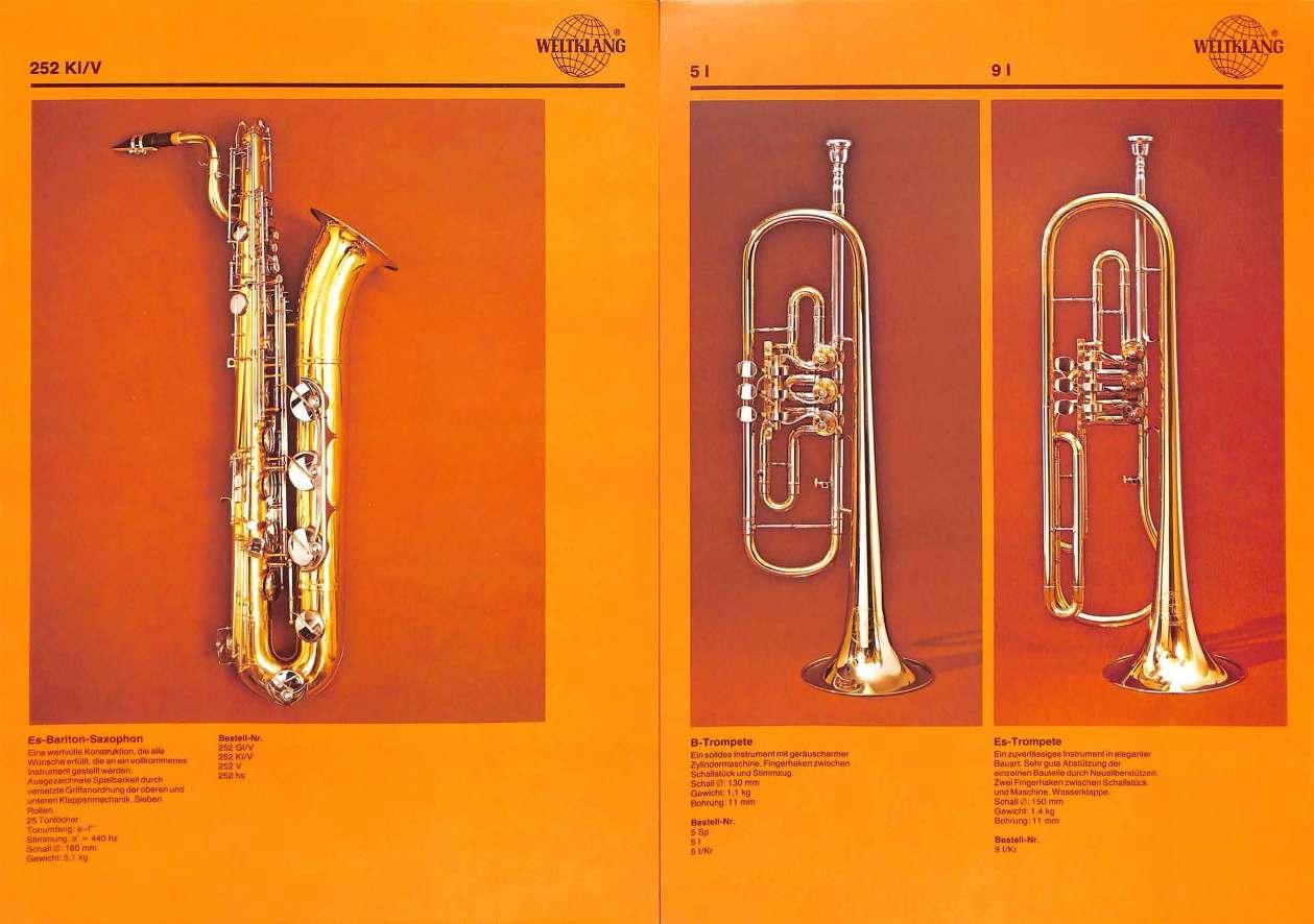 Weltklang bari sax, rotary valve Bb trumpet, rotary valve Eb trumpet, vintage colour print literature, VEB Blechblas- und Signal-Instrumenten-Fabrik (B&S), GDR, DDR, German musical instruments