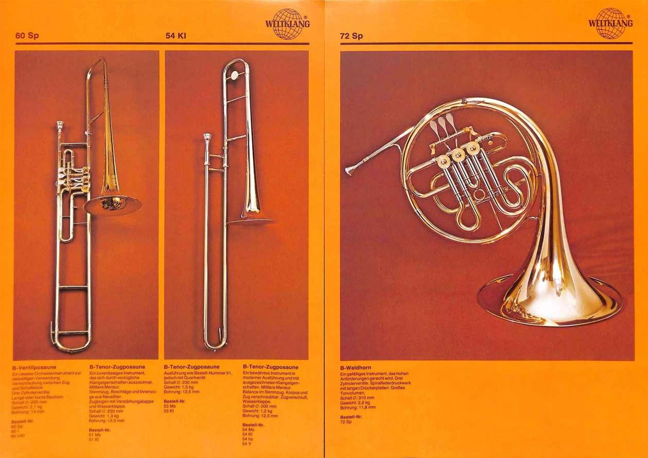 Weltklang, rotary valve Bb trombone, Bb slide trombone, rotary valve Bb French horn, vintage colour print literature, VEB Blechblas- und Signal-Instrumenten-Fabrik (B&S), GDR, DDR, German musical instruments