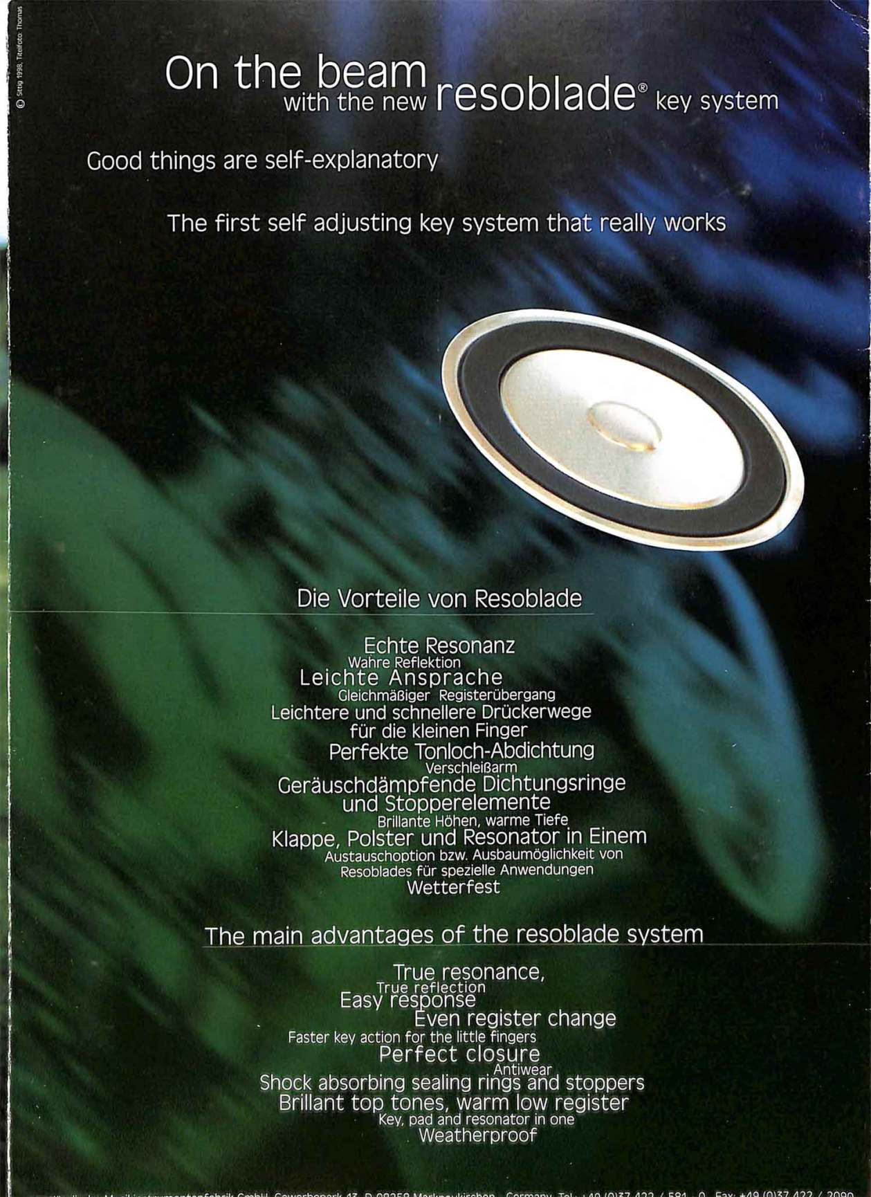 B&S saxophone, Codera, German saxophone, color brochure, resoblade