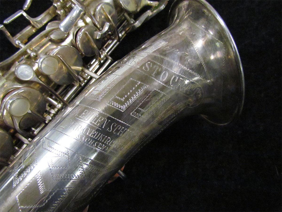 Eugen Schuster, saxophone bell engraving, silver saxophone,