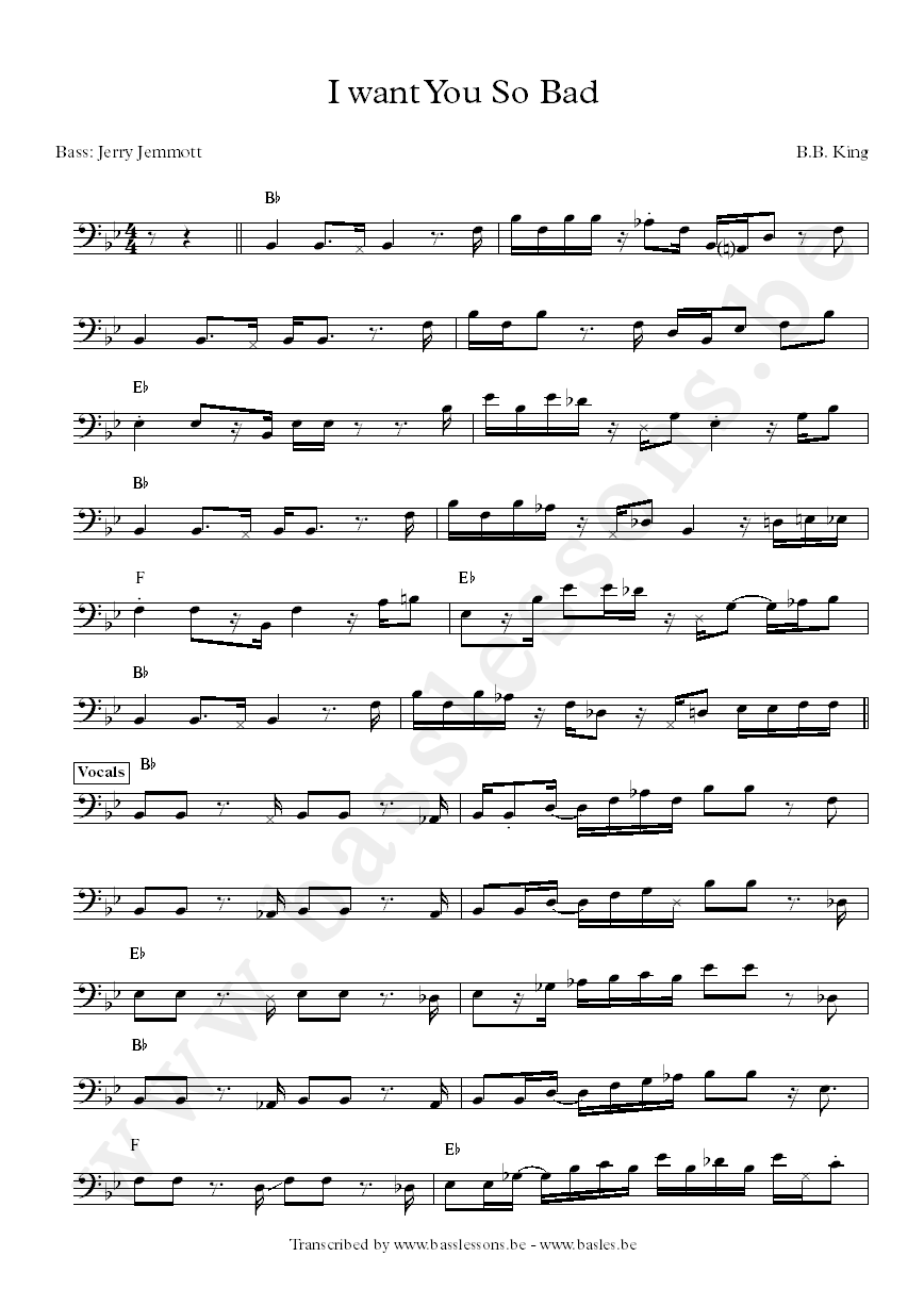 BB King I Want You So Bad Bass Transcription Jerry