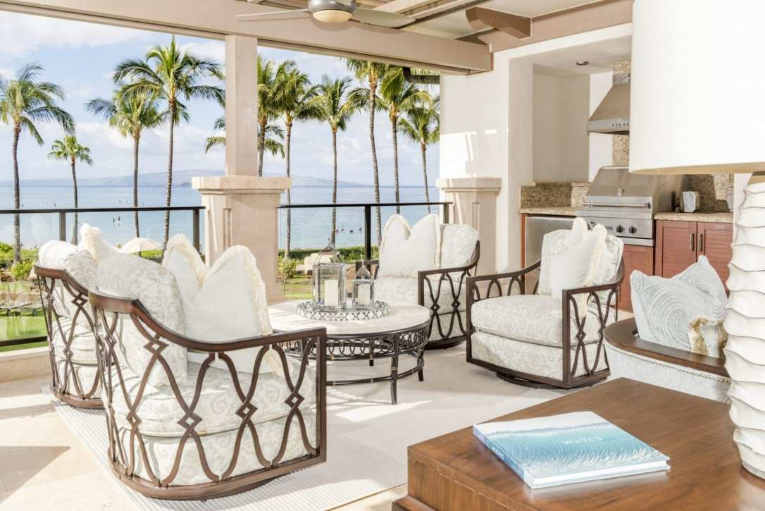 Interior Design Waterfront Patio Ocean View Wailea Maui Hawaii Luxury Home