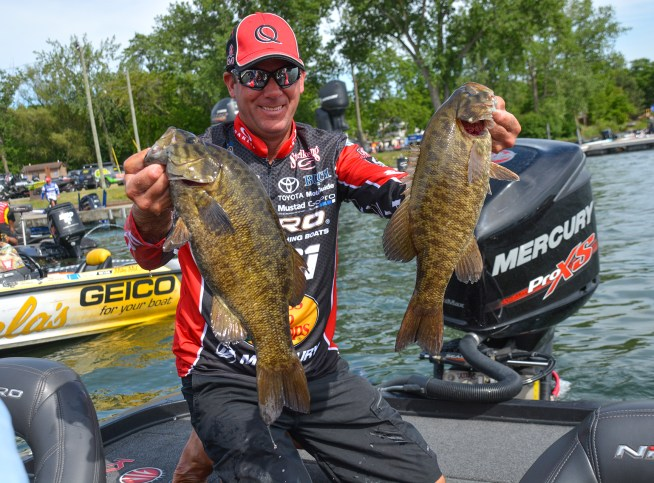 Quantum pro Kevin VanDam with part of his 20-pound limit. Photo by Joel Shangle.