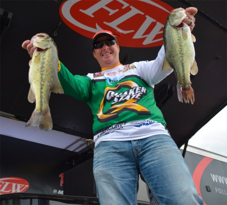 Scott Canterbury put the hammer down on these two fish to earn his first-ever FLW Tour win. Photo by Joel Shangle.
